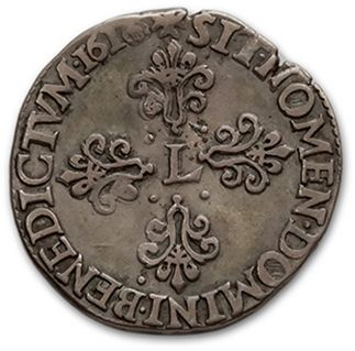 Half franc. 1616 (?). Rouen. D. 11310v, Near TTB
