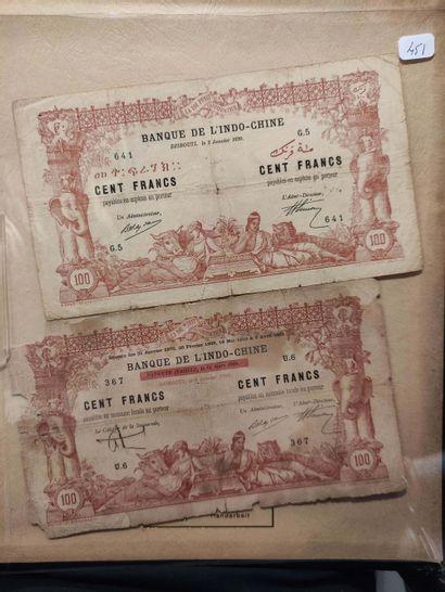 DJIBOUTI Deux billets de 100 F du 2.01.1920...