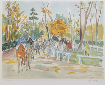 Yves BRAYER (1907-1990)  Les courses  Lithographie...