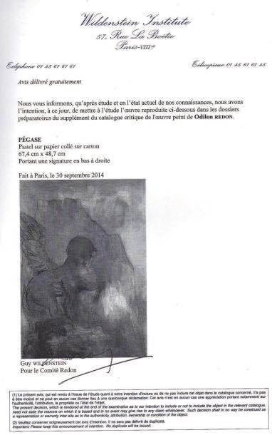 Odilon REDON (1840-1916) Pégase Pastel sur papier. Signé en bas à droite 67,4 x 48,7...