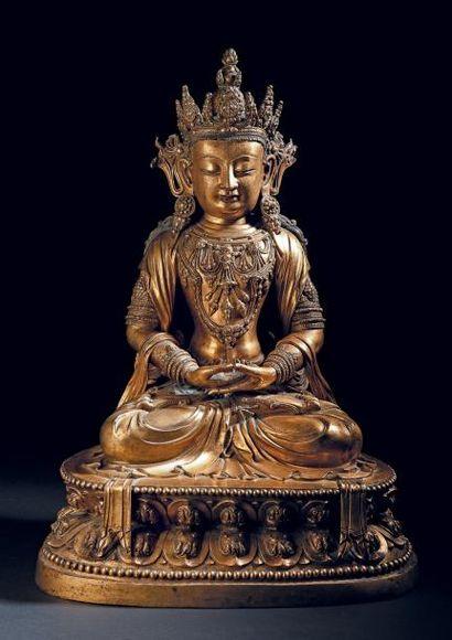 Rare et importante statue en bronze doré...