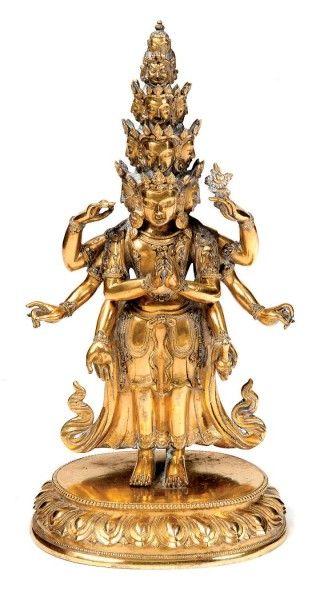 Sujet en bronze doré représentant le bodhisattva...
