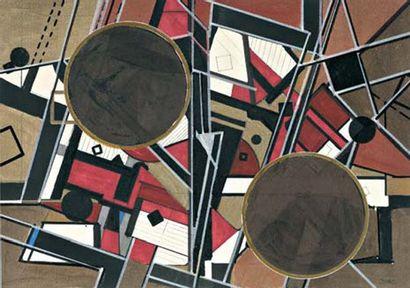 PEPE CACERES (né en 1945) Composition Gouache sur papier. Signée au dos. 21 x 35...