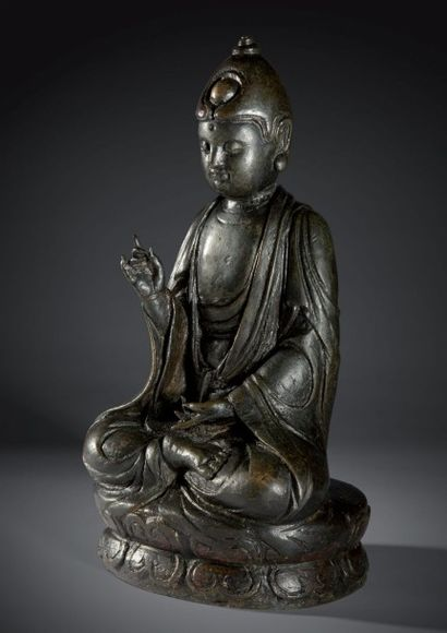 Rare et exceptionnelle statue en bronze ciselé...