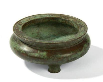 Brûle parfum tripode En bronze de patine...