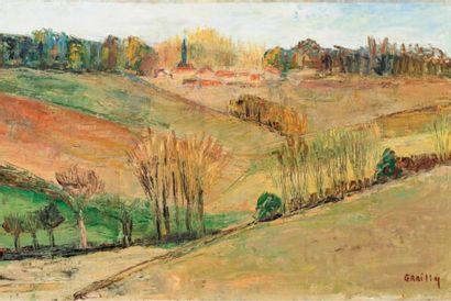 GRAILLY (XXème siècle)  Vallée  Huile sur...