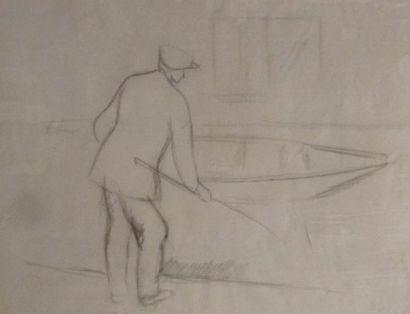Alfred GASPART (1900 - 1993). Le pêcheur....