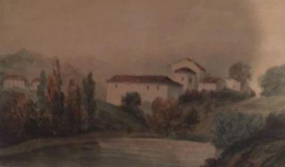 Ecole Française XXème siècle. Paysage. Aquarelle...