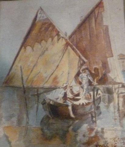 GROS (XXème siècle). Pêcheurs. Aquarelle...