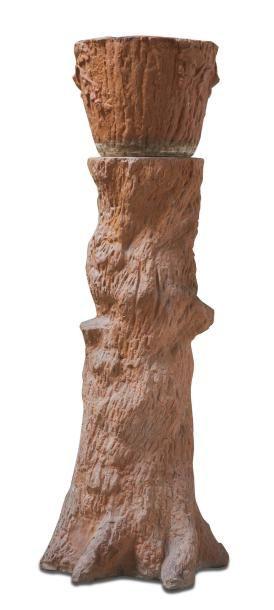 Colonne tronc d'arbre en terre cuite surmonté...