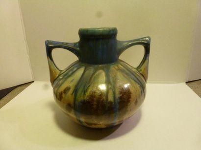 Vase à anses en céramique émaillée à décor...