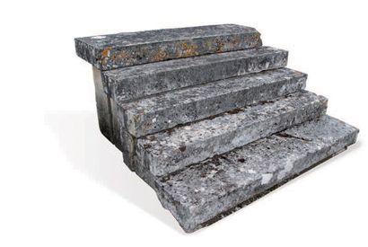 PERRON D'ENTRÉE À CINQ MARCHES Materiaux: Calcaire. XIXème siècle. Long. 190 cm...