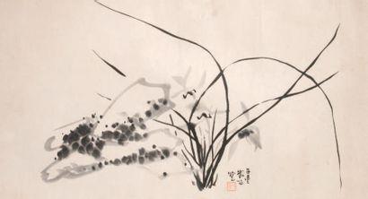 Touffes d'orchidées Encre de Chine sur papier....