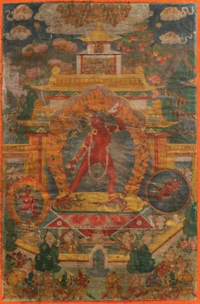 Thangka peinte en couleurs sur textile Représentant...