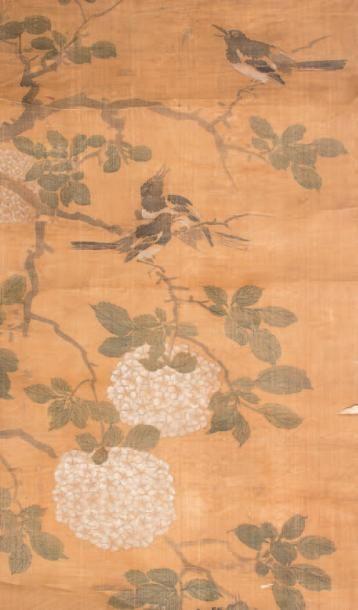 Peinture à l'encre et couleurs sur soie Représentant...