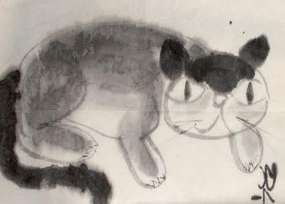 Peinture au lavis d'encre sur papier Représentant...