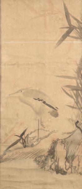 Peinture à l'encre sur papier représentant...