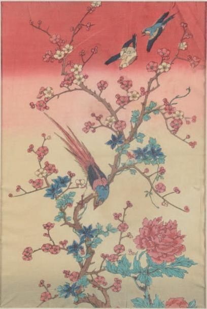 Crépon japonais. Fleurs et oiseaux. Impression...