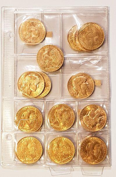 Ensemble de quinze pièces en or «IIIème République...