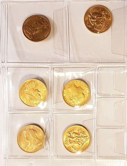 Ensemble de six pièces d'or anglaises  ...