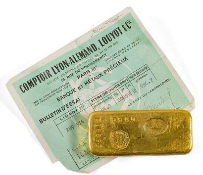Lingot d'or N°: 289 916 avec son certificat...