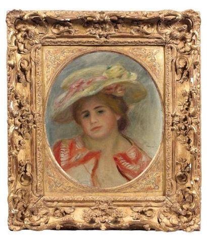 Pierre-Auguste Renoir (1841-1919) Portrait de jeune femme au chapeau fleuri, 1903....