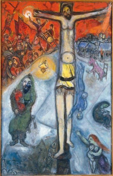 Marc CHAGALL (1887-1985) Étude pour la Résurrection, 1948. Huile sur toile, porte...