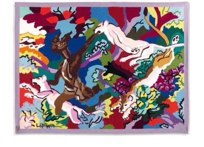 Charles LAPICQUE (1898-1988) Cybèle, 1964. Acrylique sur toile, datée et signée en...