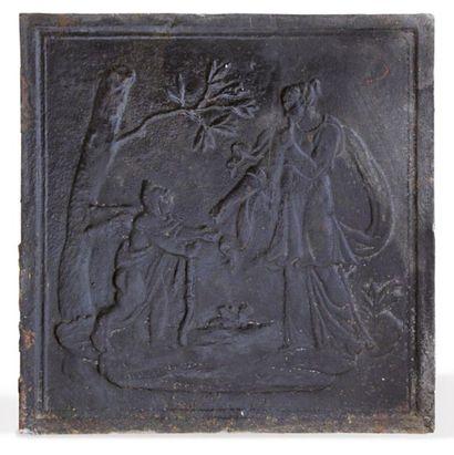 PLAQUE DE CHEMINÉE En fonte à décor d'Athéna. XIXème siècle. L. 55 cm - H. 55 cm...