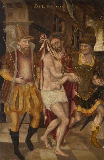 Ecole Allemade vers 1600 La derision du Christ Panneau 36,4 x 24 cm Sans cadre
