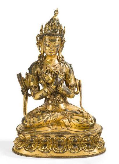 Statuette réprésentant Vajrasattva en bronze...