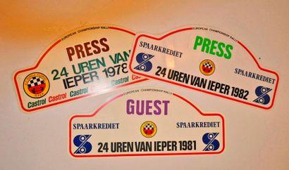 24 Heures d'Ypres (Belgique) Lot de 3 plaques...