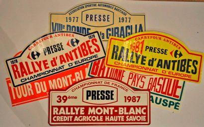 Lot de 6 plaques de rallye diverses: Ronde...