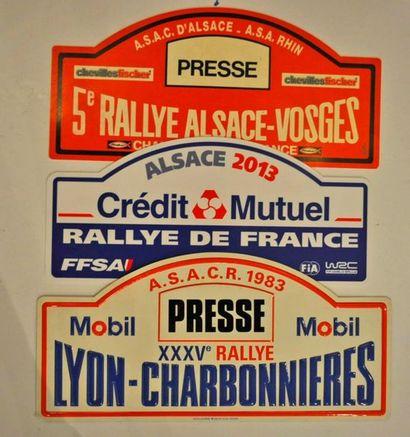 Lot de 3 plaques de rallye diverses: 5eme...