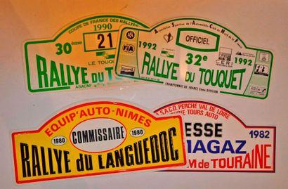 Lot de 4 plaques de rallye diverses: Critérium de Touraine 1982, Rallye du Touquet...