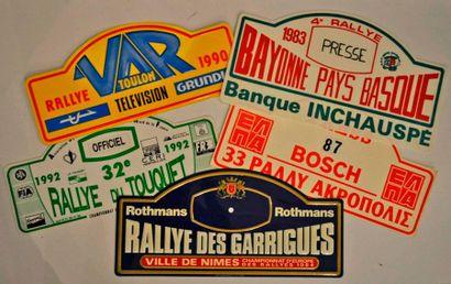 Lot de 5 plaques de rallye diverses: Rallye...