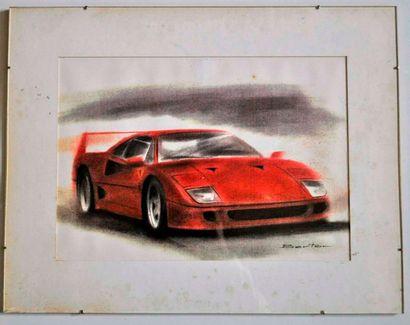 BERTON. Ferrari F40, Lithographie signée