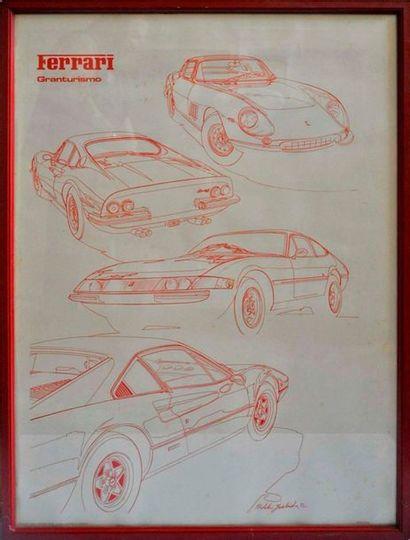 YOSHIDA. Ferrari GT, Affiche signé en bas...
