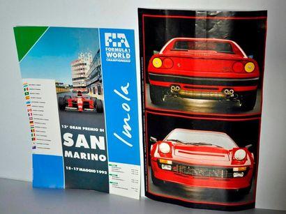 Lot de 2 affiches: Ferrari 308 Quattrovalvole (53x32cm) et Grand Prix de F1 de Saint...