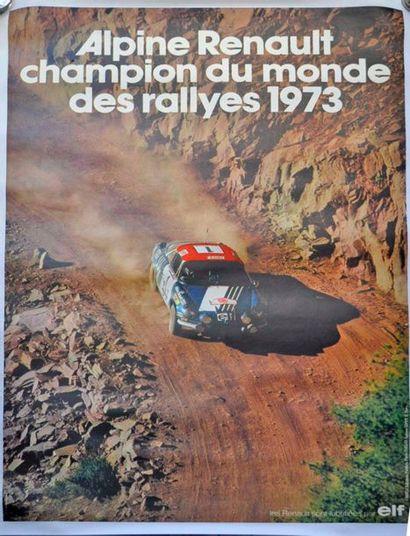 Alpine Renault champion du monde des rallyes 1973, affiche entoilée (123x85cm)