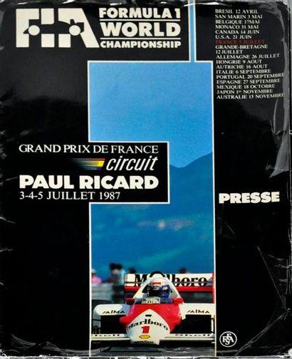 Exceptionnel dossier de presse du Grand Prix de France 1987 au Paul Ricard, comportant...