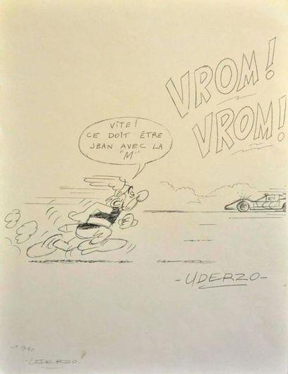 """Albert UDERZO. """"Vite ça doit être Jean avec la M"""" Lithographie 14/20, contre signée..."""