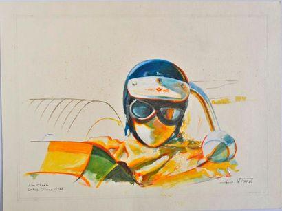 VISPE. Jim Clark, aquarelle et gouache, signée en bas à droite (30x40cm)