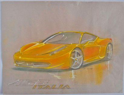 VISPE. Ferrari 458 Italia, aquarelle et gouache, signée en bas à droite (32x42c...