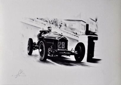 Yan DENES. GP Monaco 1937 sur Alfa Roméo, signé et contre signé au crayon, numéro...
