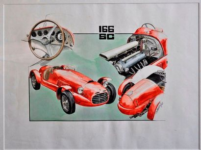J. BRAUER. Ferrari 166SC, aquarelle signée...
