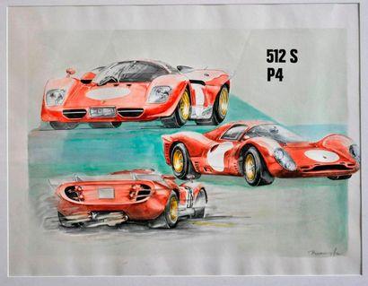 J. BRAUER. Ferrari 512 SP4, aquarelle signée en bas à droite (40x50cm)