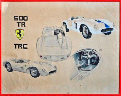 J. BRAUER. Ferrari 500 TRC, aquarelle signée à droite (38x49cm)