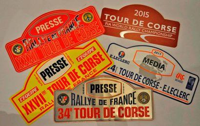 Tour de Corse. Lot de 5 plaques de rallye...