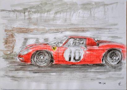 François CHEVALIER. Ferrari 250 LM. Aquarelle,...